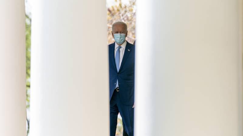 President Joe Biden arrives to speak about gun violence prevention in the Rose Garden at the...