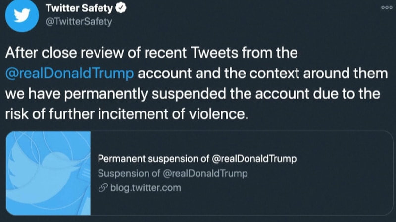 Twitter permanently suspended Pres. Trump following the Capitol takeover.