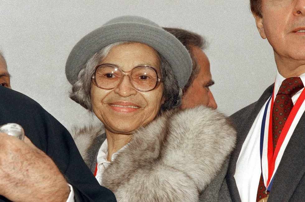 FILE - This Oct. 28, 1986, file photo shows Rosa Parks at Ellis Island in New York. A letter...