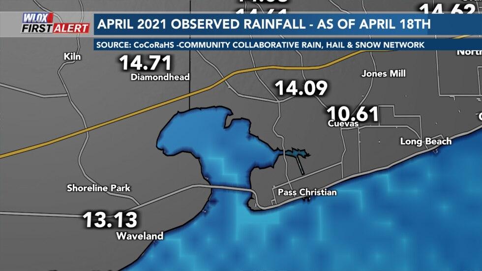 CoCoRaHS Observed rainfall April 1-18, 2021