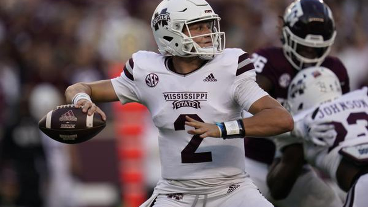 Mississippi State quarterback Will Rogers (2) passes down field against Texas A&M during the...