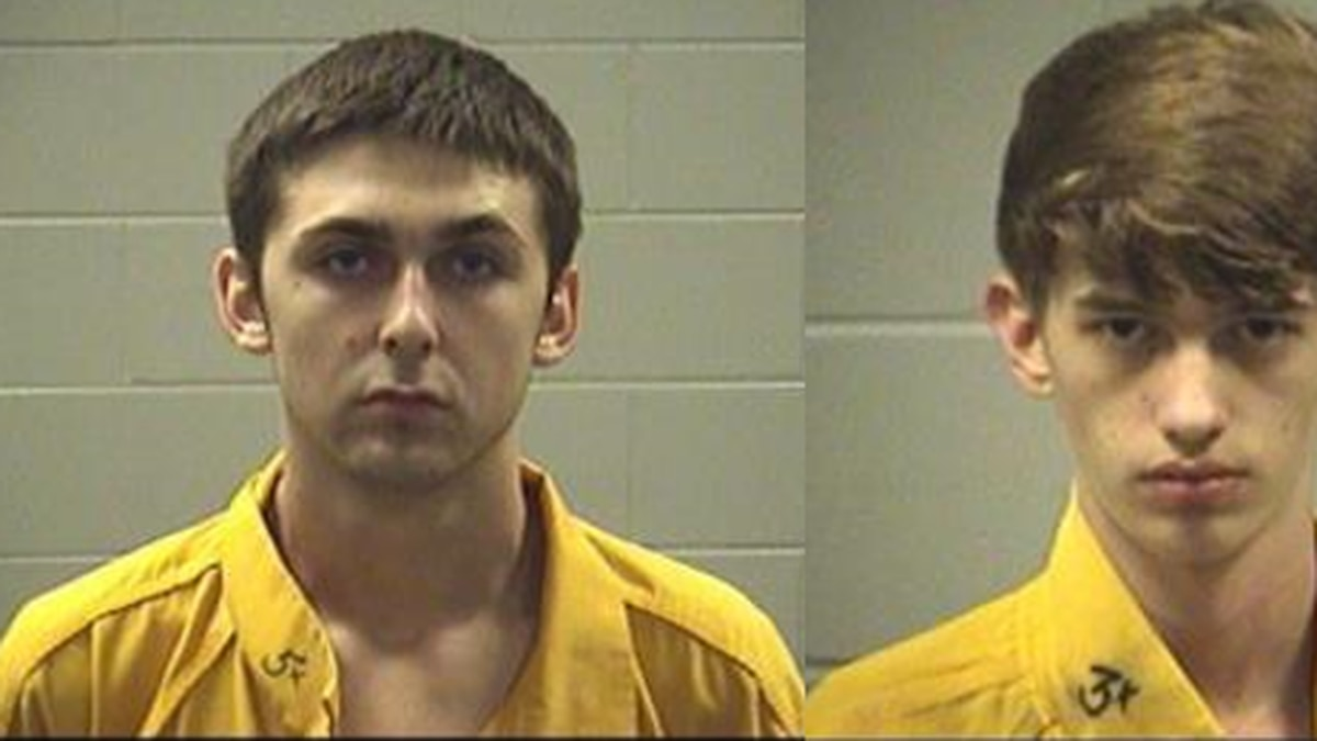 Clayborne Mitchell, 18, left, and Braden Pavlik, 17, are held at the Jackson County jail on...
