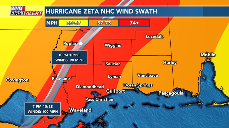 Hurricane Zeta Wind Field shows a swath of damaging hurricane force winds (red) along and east...