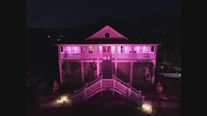 Houses in the Langley Point subdivision in St. Martin are lit up pink in honor of Breast Cancer...