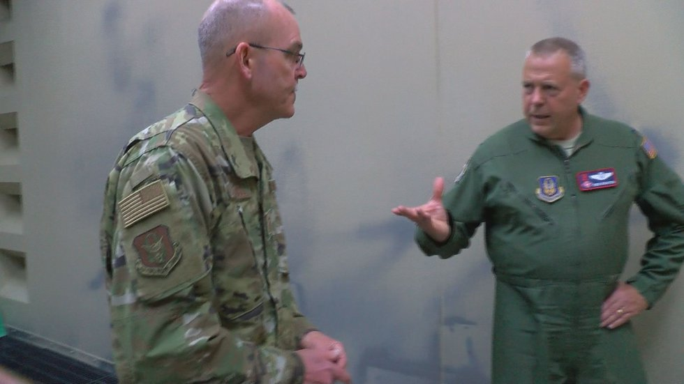 Sgt. Larry Cantrell, left, maintenance chief at the 403rd Maintenance Wing at Keesler Air Force...