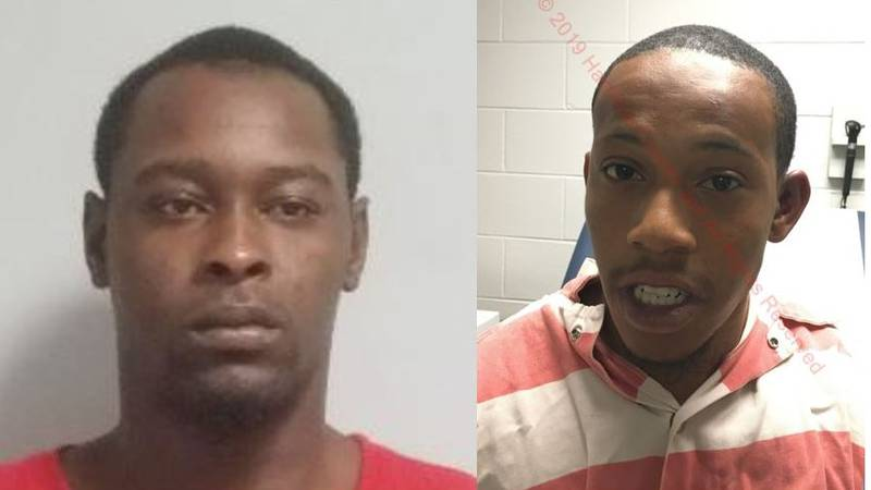 Xavier Colby Hall, left, and Brent Mandell Jones, right, are charged with two counts of armed...