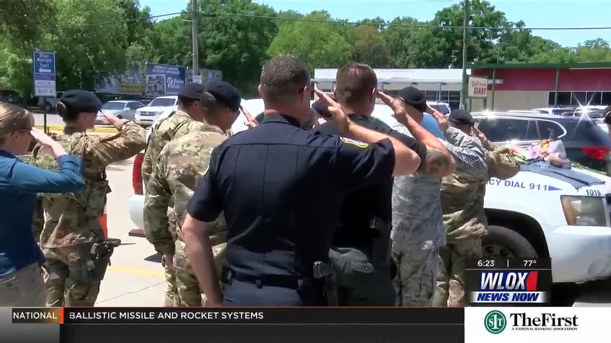 Biloxi Police Chief Joe Miller set up a memorial at Officer McKeithen's police car and that...