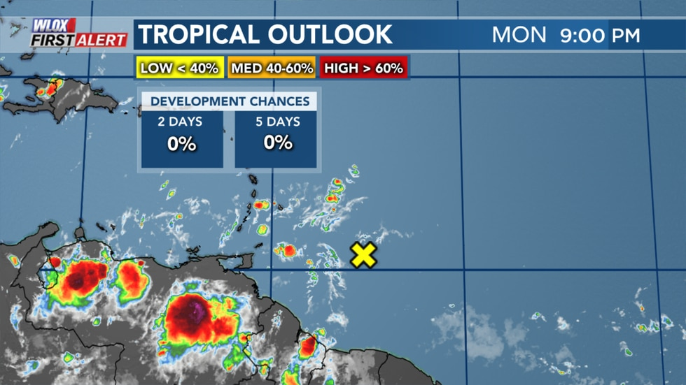 Tropical Wave East of the Lesser Antilles as of Monday evening.