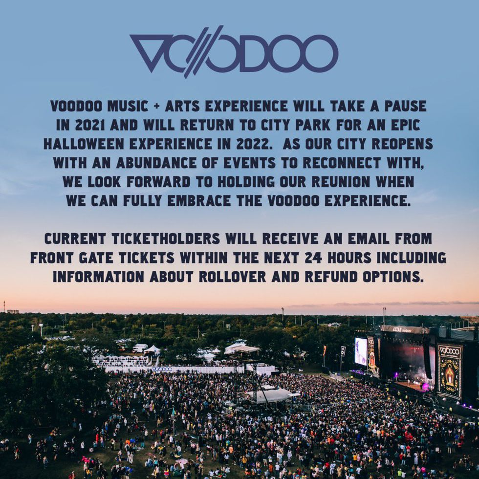 """Voodoo Fest organizers will """"take a pause"""" in 2021 and return next year."""