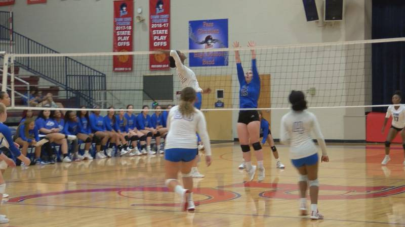 Pass Christian's Kylah Bell goes up for a spike
