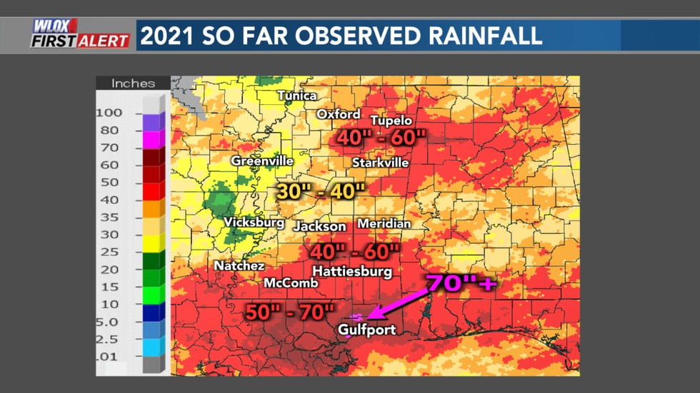 The coast has the most when it comes to Mississippi rainfall in 2021 so far. Other parts of the...