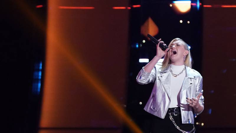 """THE VOICE  -- """"Blind Auditions"""" Episode 2102 -- Pictured: Hailey Green -- (Photo by: Tyler..."""