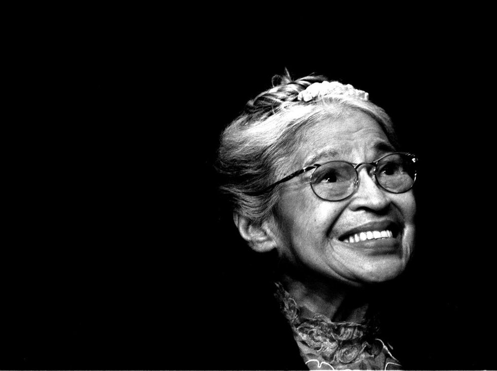 Rosa Parks smiles during a ceremony where she received the Congressional Medal of Freedom in...
