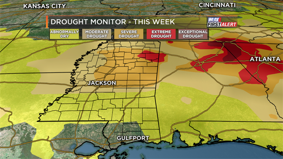 Drought conditions are worst north of I-20 in northern Mississippi.