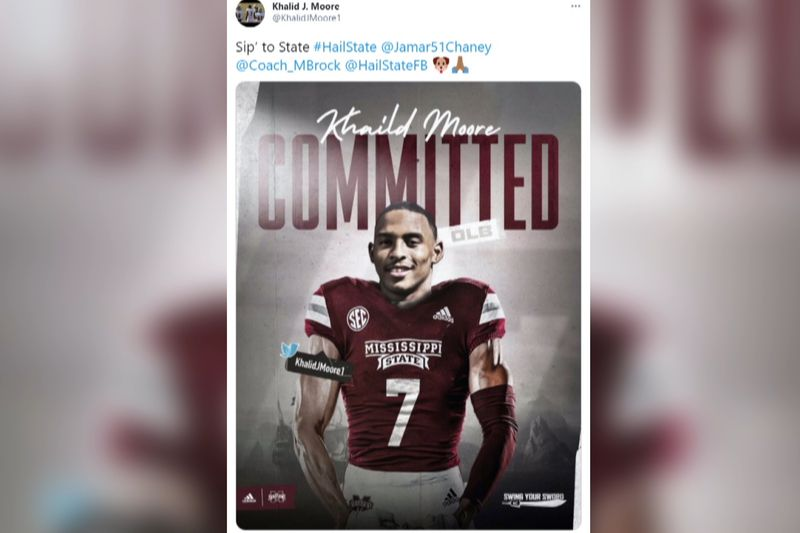 Khalid Moore committed to Mississippi State Sunday.