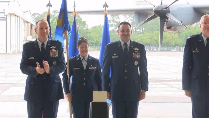 Early Saturday morning at a Keesler Air Force Base hangar, seats were full of servicemen as...