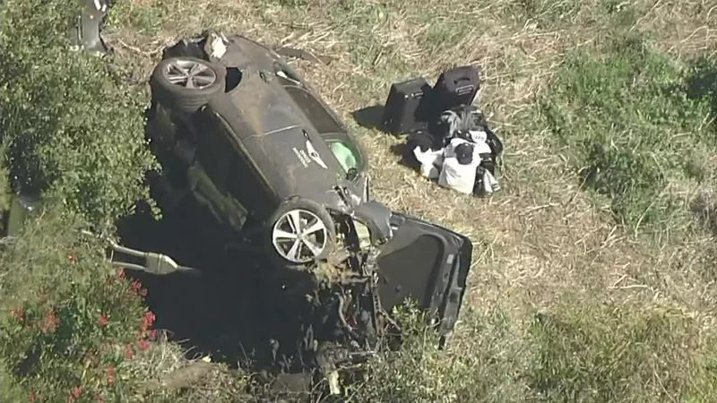Aerials where Tiger Woods was injured in a single vehicle rollover traffic collision.