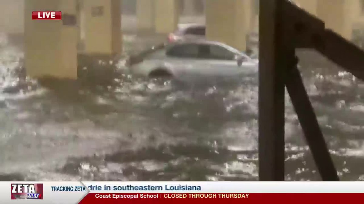 Hurricane Zeta is causing severe flooding at the Golden Nugget Casino