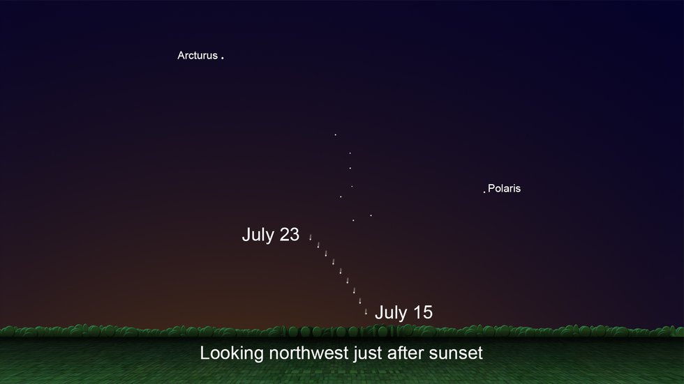 NASA: Look northwest just after sunset to see Comet NEOWISE low on the horizon.