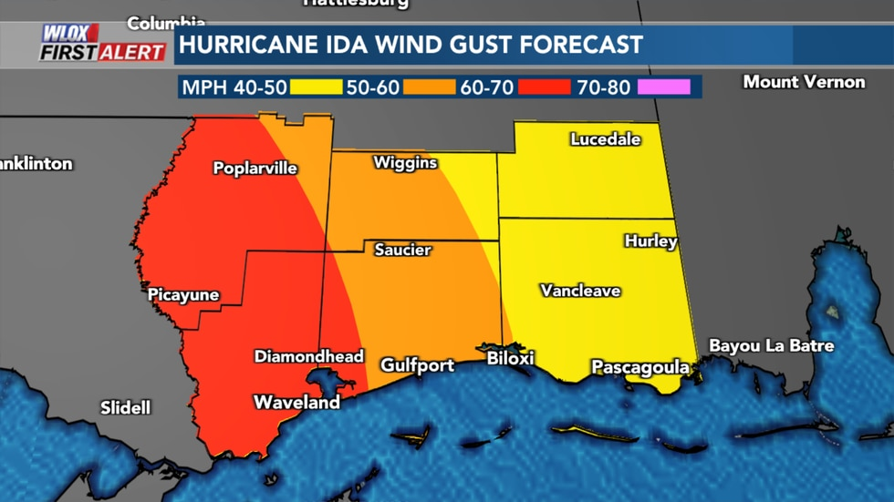 Winds gusts will be strongest the closest to the eye of Hurricane Ida. Power outages, and...