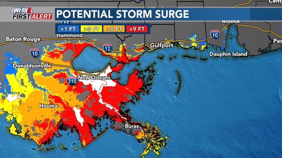 National Hurricane Center potential storm surge due to Hurricane Ida.