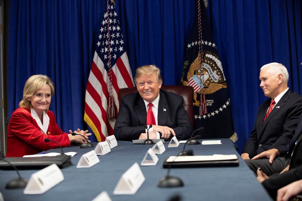 President Donald J. Trump, joined by Vice President Mike Pence and U.S. Senator Cindy...