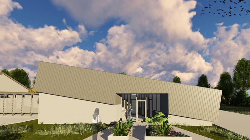 Architectural rendering of the west side of the Salvation Army Community Center of Hope to be...