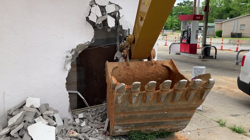 Owner says crooks used a backhoe to break into his gas station on Medgar Evers Boulevard.