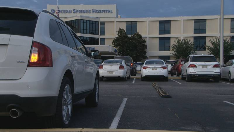 Cars filled the parking lots outside Singing River hospitals in Gulfport, Ocean Springs and...