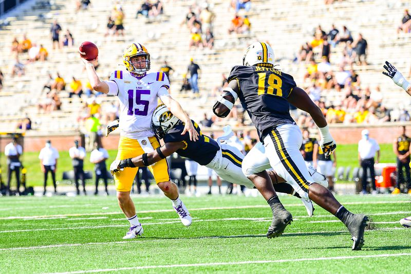 Myles Brennan during the first half of a game between LSU and Missouri at Memorial Stadium in...
