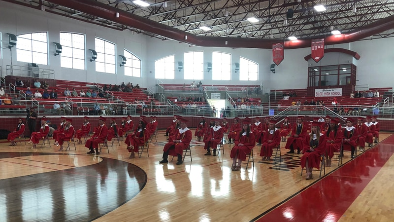 Biloxi High School's Class of 2020 in a socially-distanced ceremony.