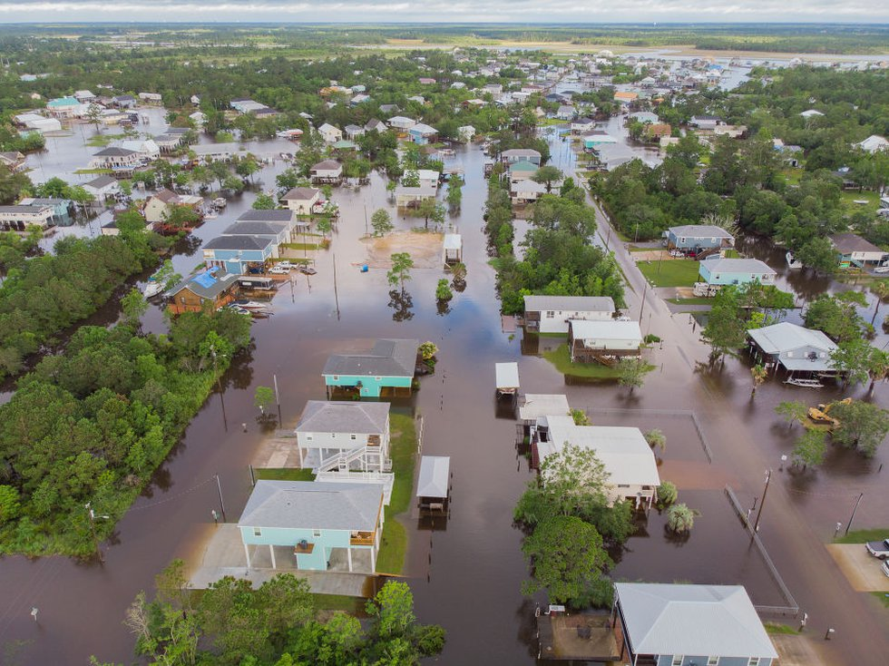 Tropical Storm Claudette floods Bay St. Louis. An areal image near Central Avenue and Highway...