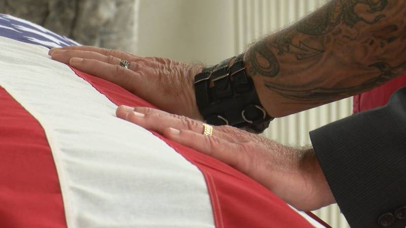 Volunteers stood watch over a flag-draped coffin in a symbolic gesture remembering the veterans...