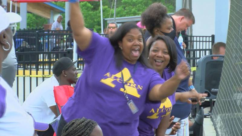 Bridget Arnold, left, and cheer Wednesday after Ashley Arnold scored for Alcorn State in their...