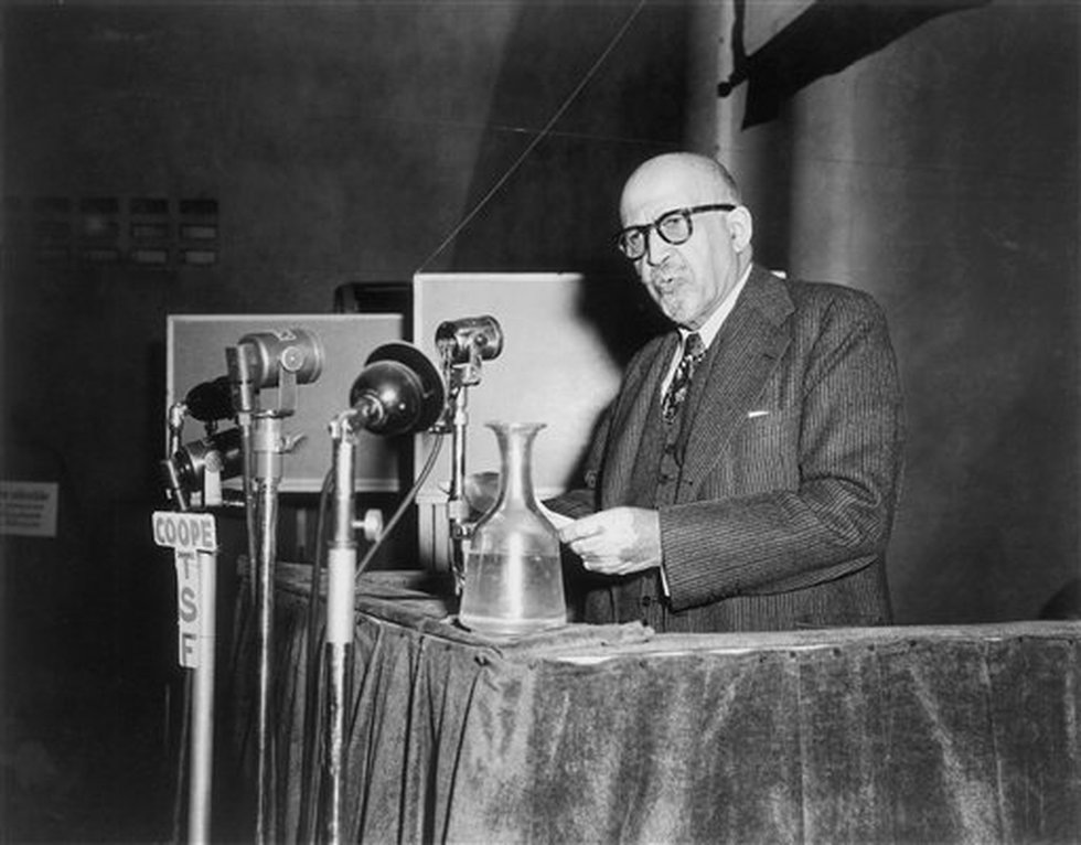 Dr. W.E.B. Du Bois, educator and writer, and leader of the American delegation, addresses the...