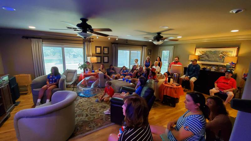 People were intently watching the final match between the US women's team and the Netherlands.