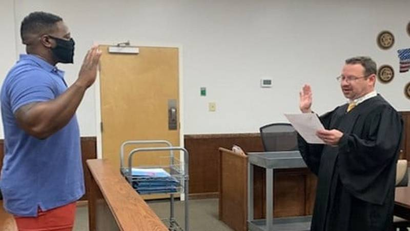 Augustus Moore is sworn in as a Court Appointed Special Advocate (CASA) in Harrison County on...