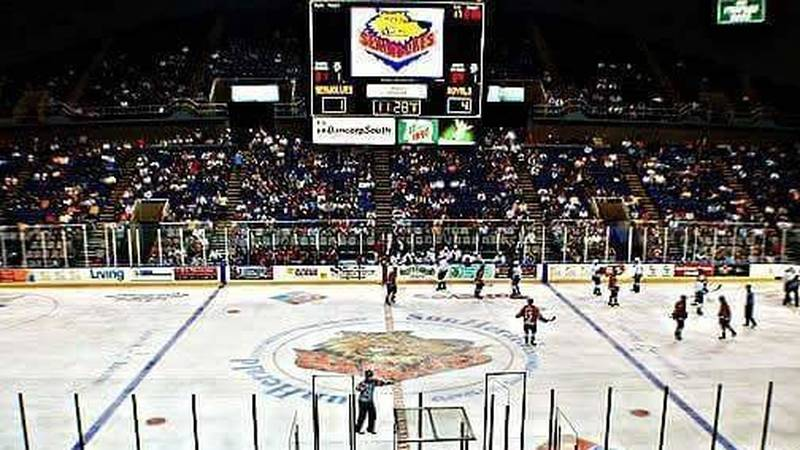An old photo shows the Mississippi Coast Coliseum during its hockey heyday when the Mississippi...