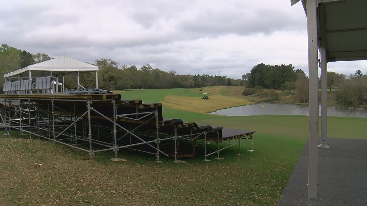 Corporate Boxes on the 18th hole at Fallen Oak take shape in advance of next week's Rapiscan...