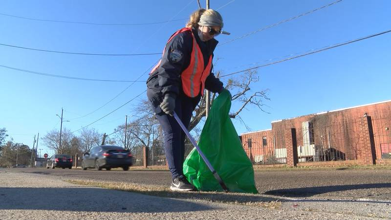 Volunteers participated in a community clean up on Monday.