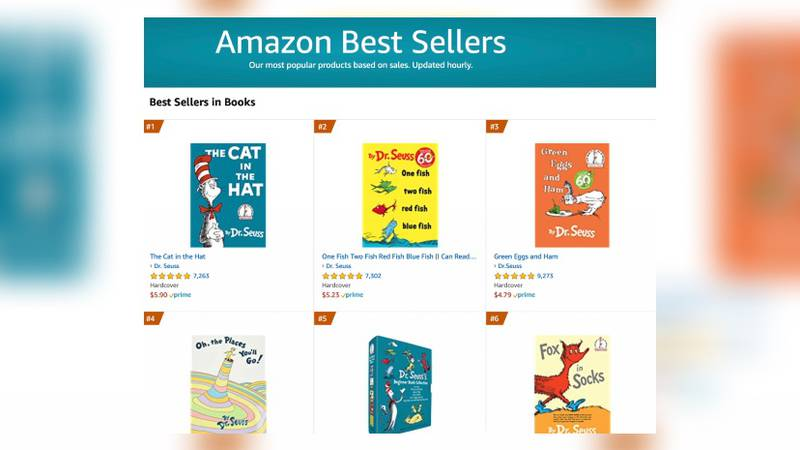 Amazon best sellers list is all Dr. Seuss after some books discontinued