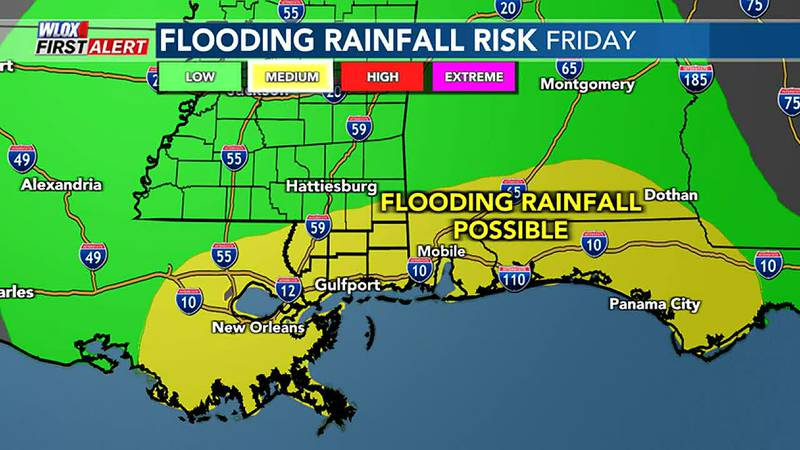 Rain showers still likely with flooding possible. Flooding rain risk may decrease by next three...
