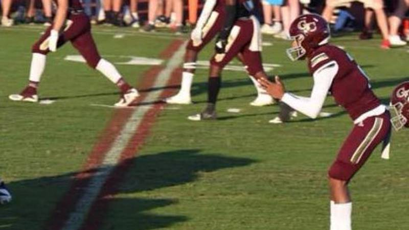 George County's Ashton Hollins awaits a snap in George County's spring game