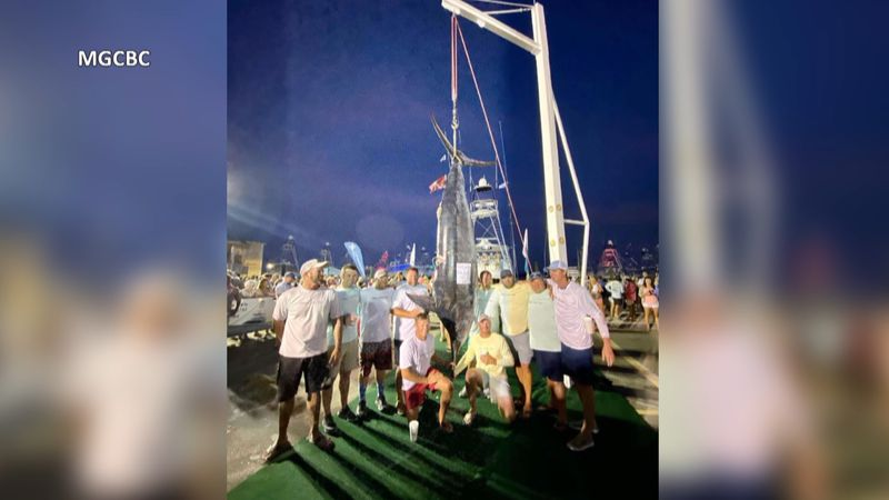 Nick Pratt off the boat It Just Takes Time brought in a 793 pound blue marlin Saturday.