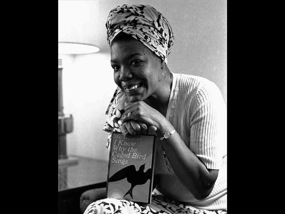 """Maya Angelou holds copy of her book """"I Know Why Caged Bird Sings"""", B&W photo on black"""