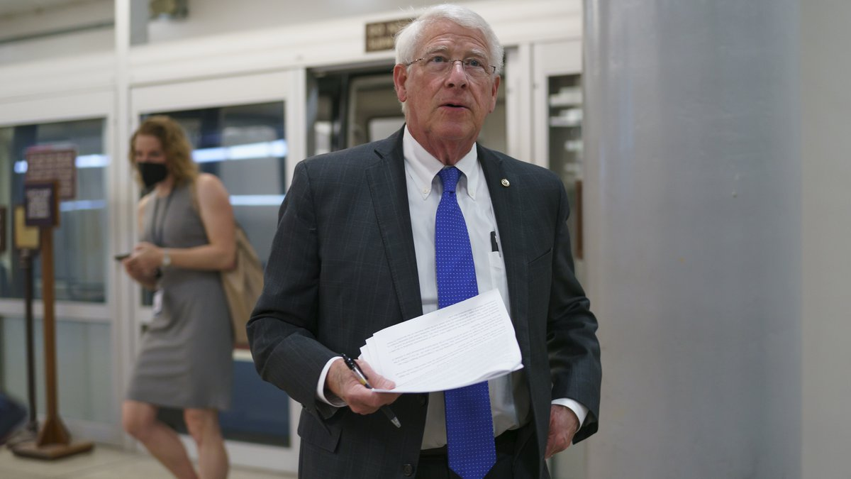 FILE - In this Thursday, May 27, 2021 file photo, Sen. Roger Wicker, R-Miss., arrives as...