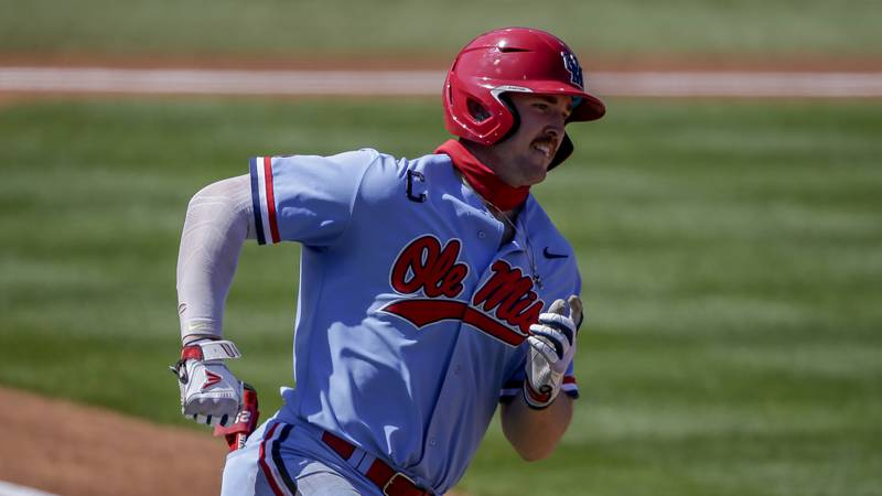 Mississippi Tim Elko (25) runs to first during an NCAA baseball game against Auburn on Sunday,...