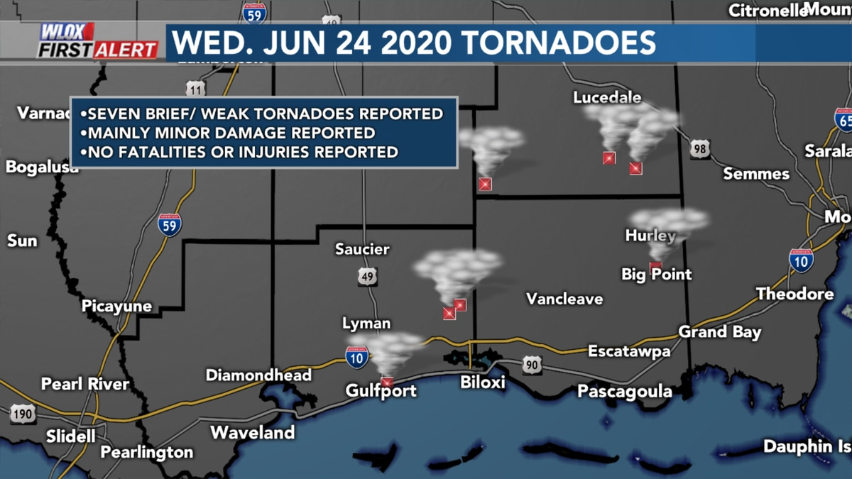 Tornadoes from Wednesday June 24 2020