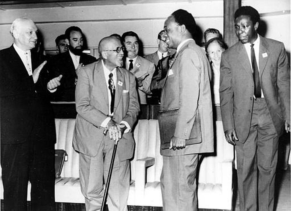 President of Ghana, Dr. Kwame Nkrumah, second from right, talks with 93-year-old American...
