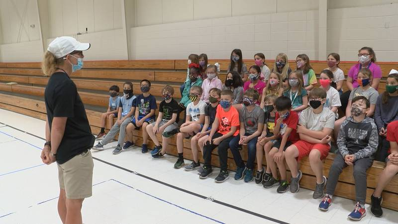 Jeannie Cook told her students about her run on Monday.